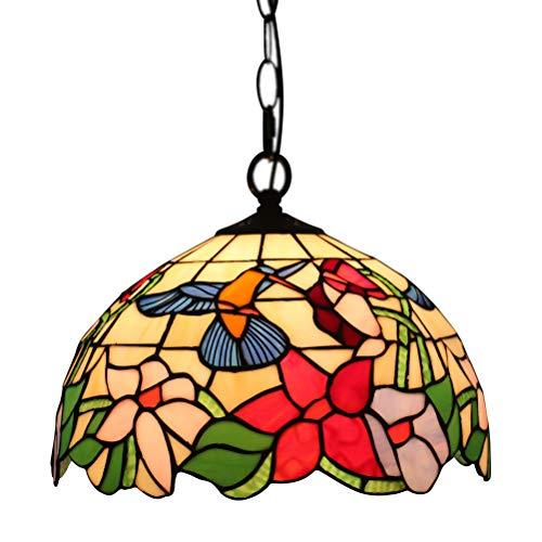 Odziezet Retro Tiffany Stil Kronleuchter 12 Zoll Deckleuchung Meatall Lampeschirm Glas Esszimmer Korridor Dekorative Hängelampen [Energieklasse A++]