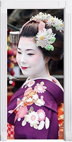 Stil.Zeit Möbel Geisha Graceful avec Ventilateur Mural, Format: 200x90cm, Cadre de Porte, Porte Autocollants, décoration de Porte, Porte Autocollants