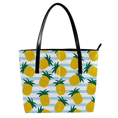 LORVIES Summer_Pineapple_Vector_Background - Bolso de mano para mujer