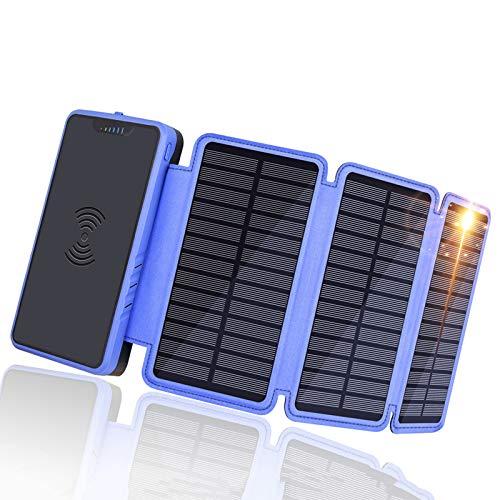 Cargador Solar Móvil 10000Mah Power Bank Cargador Solar 2 Entradas 2.1V Output Batería Externa Y LED Linterna para Camping, Viajes, Emergencia