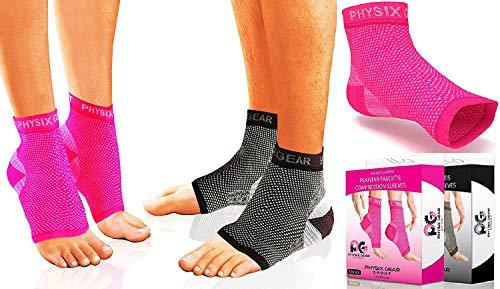 Physix Gear Sport Calcetines con Arco para Fascitis Plantar, Color Rosa (Talla S/M)