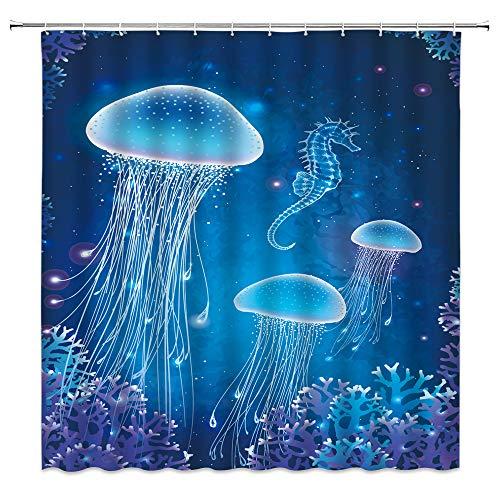 Magic Qualle Duschvorhang Kreative Ozean Marine Tier Tropische Fische Neuheit Blau Medusa Unterwasser-Meeresleben Kinder Lustig Aquatic Quallen Seepferdchen Tier Badvorhang Stoff 177,8 x 177,8 cm