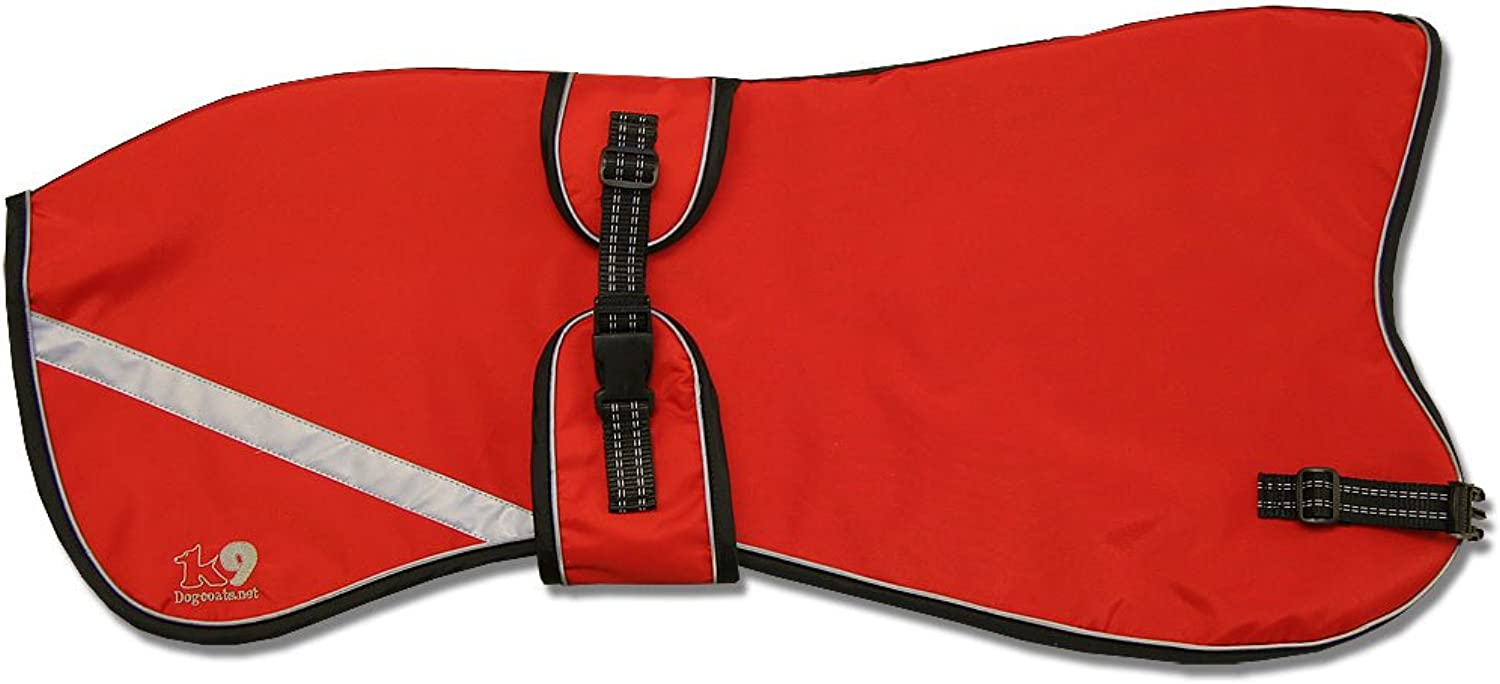 Kellings Dog Coats Starbright Greyhound Lurcher Coat with Reflective strips and piping (Medium 2830in, Red)
