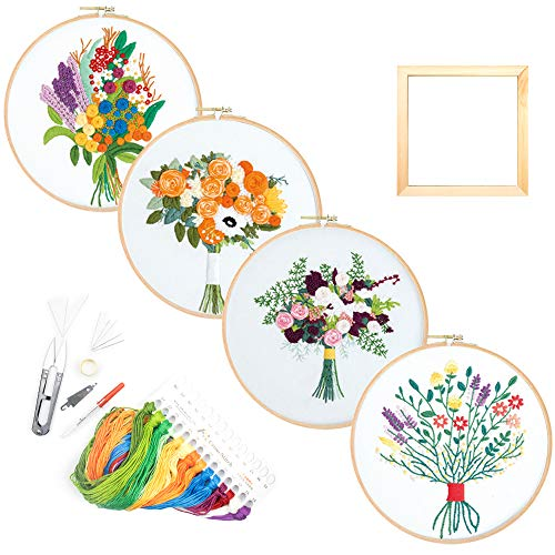 Airsnigi Embroidery Starter Kit with 4 Pattern,Full Range of Cross Stitch Set Including Embroidery Cloth with Plant Pattern,Square Photo Frame,Bamboo Embroidery Hoop,Color Threads and Tools Kit
