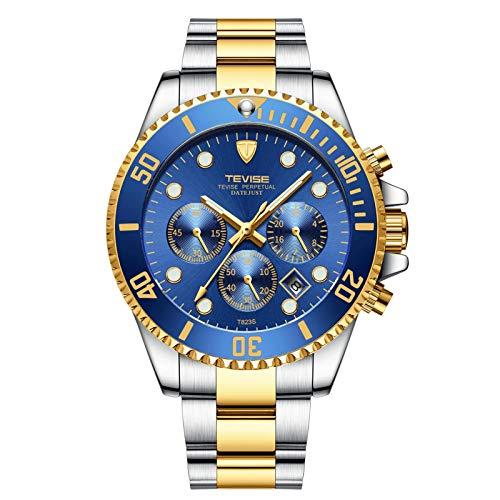 JTTM Relojes De Hombre, Reloj De Cuarzo Analógico De Negocios Único para Hombres Cronógrafo De Acero Inoxidable Relojes,Gold Blue
