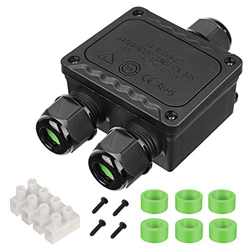 Hospaop Caja de derivación, caja de derivación, resistente al agua IP68, conector...