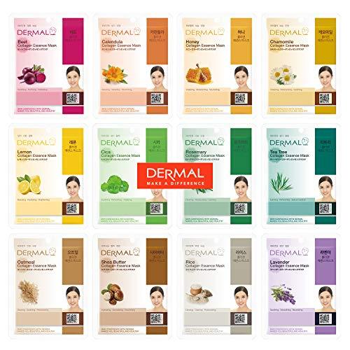 DERMAL 12 Pack Combo New Value Set Collagen Essence Mask Sheet | Sodium Hyaluronate & Hydrolyzed Collagen Nature Made Fresh Mask | Paraben-Free | Best...