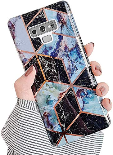 Uposao Kompatibel mit Samsung Galaxy Note 9 Hülle Silikon Ultra Dünn Handyhülle Bunt 3D Bling Glitzer Marmor Muster Weich Schutzhülle Kratzfest TPU Bumper Handytasche Soft Case,Schwarz Braun