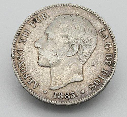 Desconocido Moneda de 5 Pesetas de Plata del Año 1883 Durante La Epoca del Rey Alfonso XII. Moneda Coleccionable. Moneda de España. Moneda de Colección