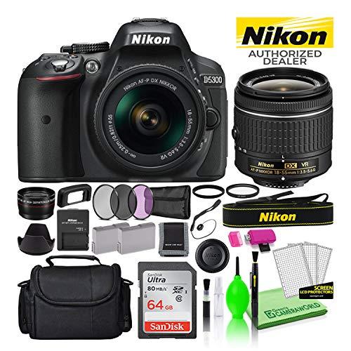 Nikon D5300 24.2MP DSLR Digital Camera with 18-55mm AF-P VR Lens (Black) (1519) USA Model Deluxe Bundle -Includes- Sandisk 64GB SD Card + Nikon Gadget Bag + Filter Kit + Spare Battery + Telephoto Lens