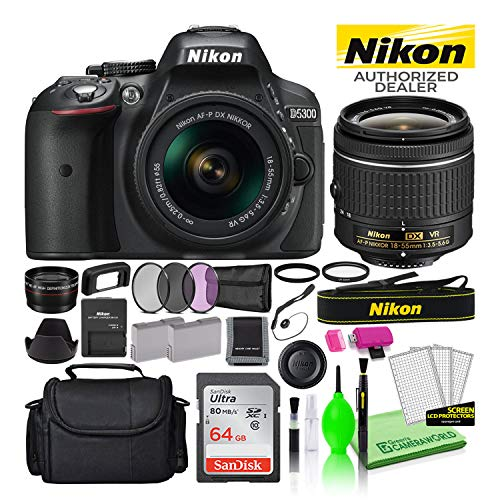 Nikon D5300 24.2MP DSLR Digital Camera with 18-55mm AF-P VR Lens (Black) (1519) USA Model Deluxe Bundle -Includes- Sandisk 64GB SD Card + Nikon Gadget Bag + Filter Kit + Spare Battery + Telephoto Lens