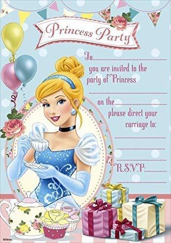 Einladungskarten Disney Prinzessinnen, 20 Blatt und Umschläge