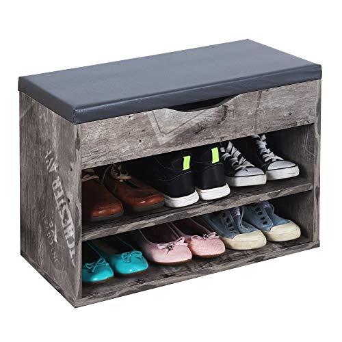 RICOO WM032-CF-A Banco Zapatero 60x42x30cm Armario Interior con Asiento Organizador Zapatos Mueble recibidor Perchero Madera Gris City Faider