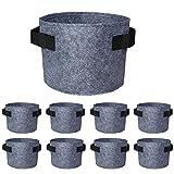 Soyizom 8 bolsas duraderas para cultivo de plantas 1/2 / 3 galones de tela macetas con asas, recipientes de cultivo para verduras/flores/guardería. (2 colores, 3 tamaños)