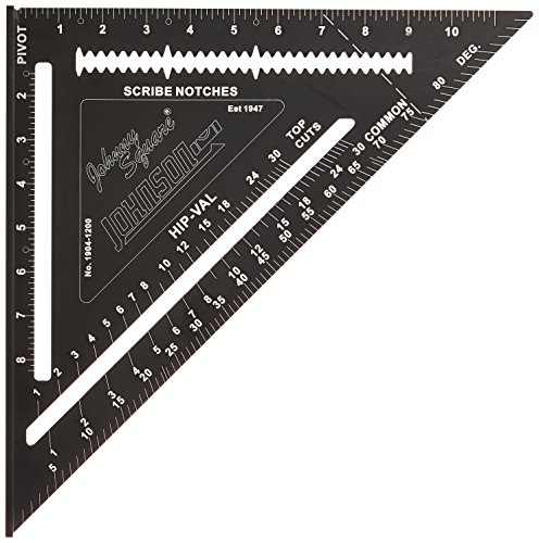 "Johnson Level & Tool 12"" Johnny Square, Professional Easy-Read Aluminum Rafter Square w/out Manual"