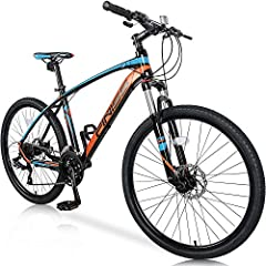🚲 Front suspension forks design smooths bumps while biking and increases control for fluid riding 🚲 Fitted Shimano 24-speed derailleurs and shifters for reliable and smooth gear shifting 🚲 Dual disc brakes provide enhanced stopping power 🚲 Designed t...