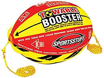 SPORTSSTUFF Towable Booster Tube Yellow Red Black Dimensions inflated  38in x 28in  deflated  45in x 36in