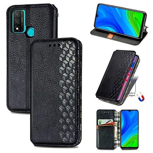 Bear Village Hülle für Huawei P Smart 2020 / Nova Lite 3 Plus, PU Leder Flip Handyhülle für Huawei P Smart 2020 / Nova Lite 3 Plus, Brieftasche Schutzhülle mit Standfunktion & Kartenfächer, Schwarz