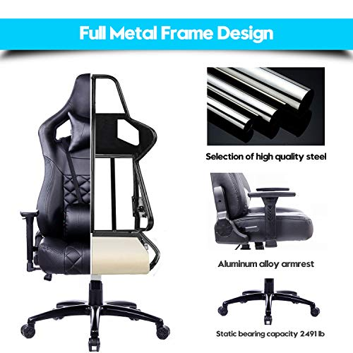 Amazing Blue Whale Big And Tall Gaming Chair With Massage Lumbar Spiritservingveterans Wood Chair Design Ideas Spiritservingveteransorg