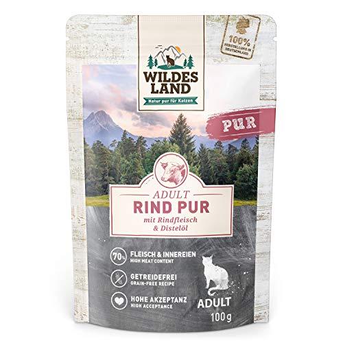 Wildes Land | Nassfutter für Katzen | Nr. 6 Rind PUR | 12 x 100 g | Getreidefrei & Hypoallergen | Extra viel Fleisch | Beste Akzeptanz und Verträglichkeit