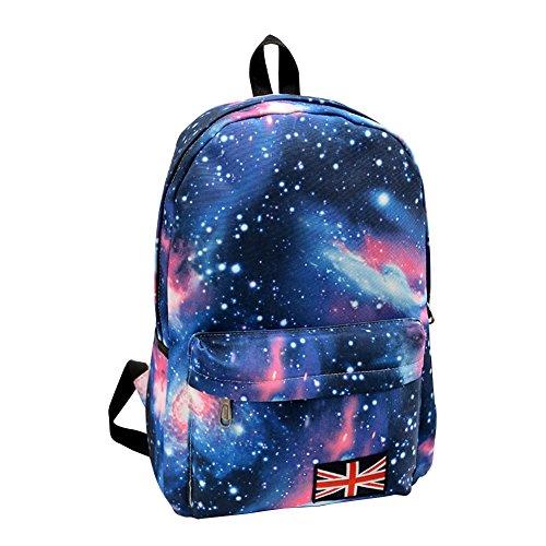 Minetom Damen Schulrucksack Sterne Universum Schulranzen Schultasche Rucksack Freizeitrucksack Daypacks Backpack Blau One Size
