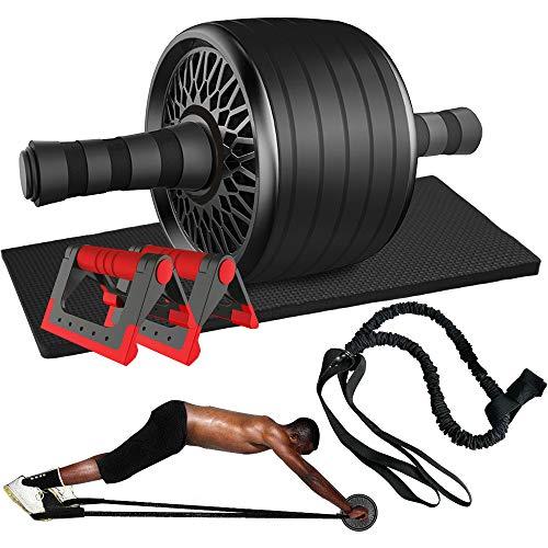 AB Bauchtrainer Roller Set, 2 Liegestützgriffe, 2 Bauchtraining widerstandsbänder, 1 Bauchroller, Zuhause Bauchmuskeltrainer Fitness Geräte für Anfänger und Professionell