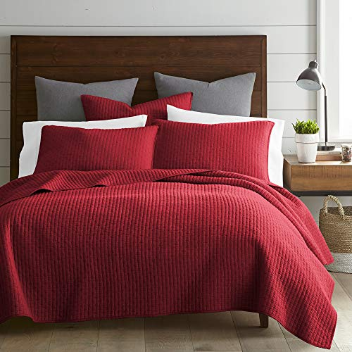 Levtex Home - Cross Stitch Quilt Set - 100% Cotton - Full/Queen Quilt (88x92in.) + 2 Standard Shams (26x20in.) - Chile Red