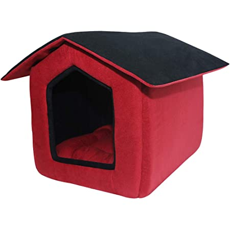 Mellifluous Foldable Velvet Fabric Dual Color House/Hut for Dogs & Cats (Medium, Red-Black)
