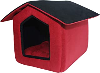 Mellifluous Foldable Velvet Fabric Dual Color House/Hut for Dogs & Cats (Large, Red-Black)