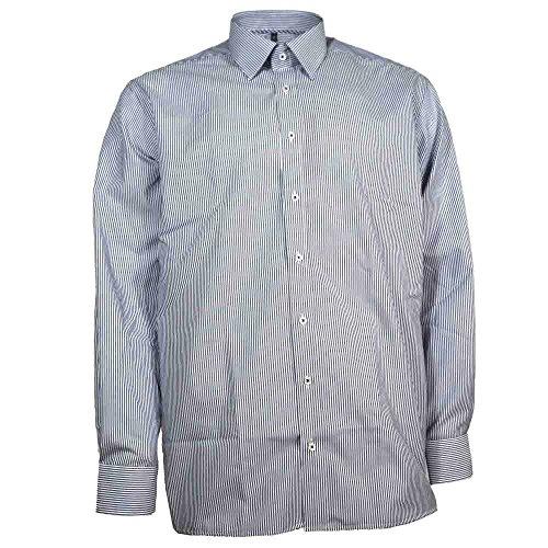 Eterna Chemise Homme Chemise à manches longues en coton en coton chemise Business moderne Fit Bleu/rayé blanc - Bleu - bleu,
