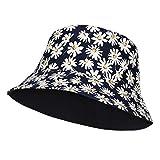 RZKJ-SHOP Sombrero del Pescador Algodón Plegable Bucket Hat con Dibujos de Margarita Redondo Sombreros de Pesca Mujeres Actividades Al Aire Libre Visera para Playa Viaje