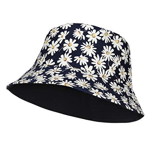 RZKJ-SHOP Cappello da Pescatore in Cotone, Pieghevole Cappello da Sole Secchio Spiaggia Rotondo Uomo Donna Estivo UV Protezione Bucket Hat per Viaggio Pesca All'aperto