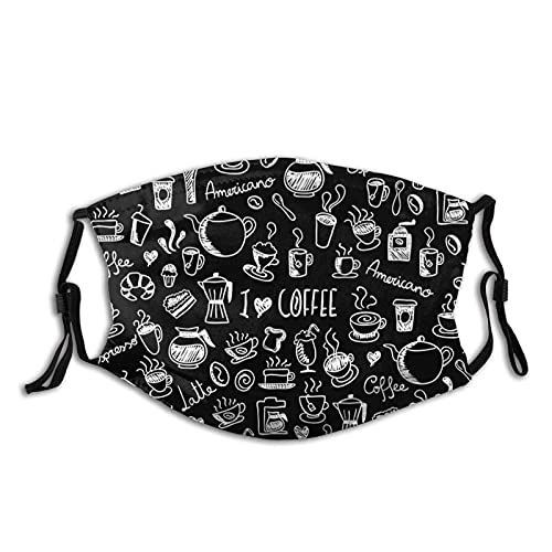 I Love Coffee in Black and White Face M-A-S-K - Pañuelos de bolsillo lavables para la cara pasamontañas reutilizables M-A-S-Ks ajustable con filtro
