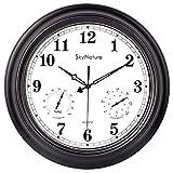 Reloj de pared grande para exterior, 45 cm, impermeable, con termómetro e higrómetro, silencioso, sin tic tac, de metal, funciona con pilas, para salón, terraza, jardín, piscina, color negro mate