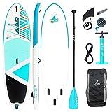 """AKD Germany Seastar 10'8"""" Stand Up Paddle Board 325 x86 x15cm (Cian), Inflable, Paleta Deportiva de Aluminio Ajustable, Bomba de Alta presión con manómetro, Mochila y Correa"""