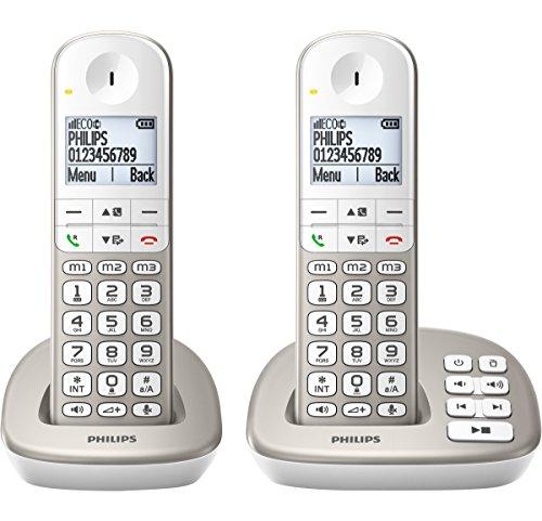Philips XL4951S/05Schnurlostelefon mit Anrufbeantworter, 4,8cm großes Display und weiße Hintergrundbeleuchtung
