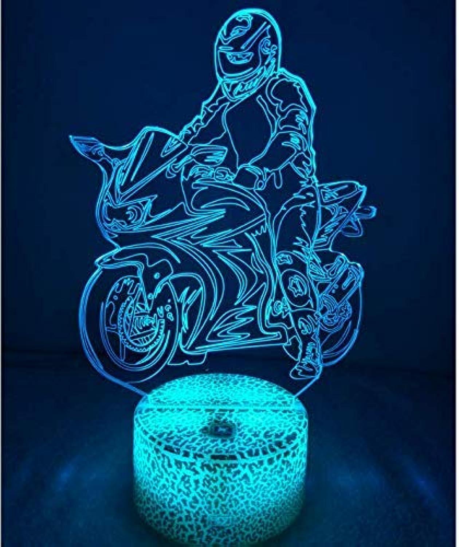 XIAOL Home 3D Motorrad Nachtlicht USB Touch Switch Decor 7 Farbwechsel LED Tischlampe