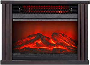 Calentador De Chimenea Eléctrica, Estufa De Calefacción Interior Portátil Con Efecto De Fuego 3D, Cobertura De 300 Pies Cuadrados, Calentamiento Rápido, Poco Ruido, Ahorro De Energía (Brown)