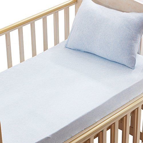 100% Organic Cotton 2 Piece Bedding Set with 1 Toddler Deep Pocket Fitted Crib Sheet, 1 Toddler Pillowcase, Blue by NTBAY