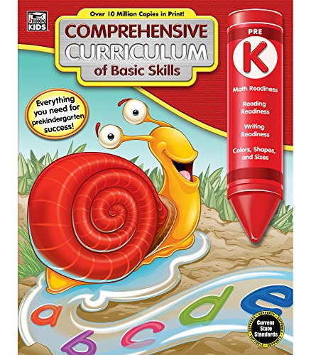 Comprehensive Curriculum of Basic Skills Workbook for Preschool—State Standard Lesson Plans, Numbers, Letters, Writing Recognition for Pre-K, Daycare (544 pgs)