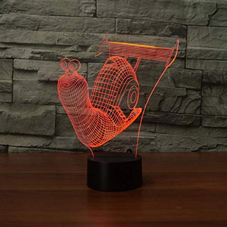 I will take action now Nachtlicht Schnecke 3D-Licht Bunte Note, die visuelles Licht aufldt Farbwechselgeschenkatmosphre Tischlampe