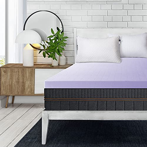 BedStory Mattress Topper Twin, 2 Inch Lavender Infused & High-Density Memory Foam Bed Topper, Removable Soft Cover with Ventilated Design, CertiPUR-US Certified