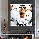 UIOLK Estilo nórdico Cristiano Ronaldo fútbol Superestrella Pintura al óleo Abstracta Arte Mural Lienzo Cartel hogar Retro Arte Cartel