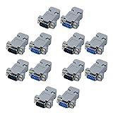 cococity RS232 Adattatore DB9 D-SUB, 10 Paia Adattatore Maschio/Femmina a Saldare 9 Pin con Coperchio di Plastica per Connettore Terminale