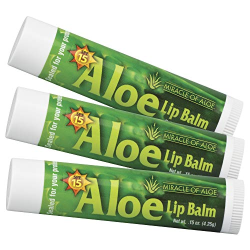 3-Pack SPF-15 Sunscreen Aloe Lip Balm | With Pure UltraAloe Aloe Vera Gel | Each Stick weighs 0.15 ounce