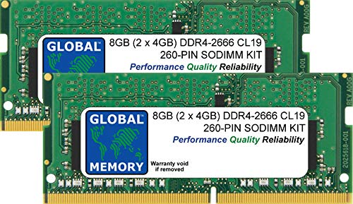 8GB (2 x 4GB) DDR4 2666MHz PC4-21300 260-PIN SODIMM MEMORY RAM KIT FOR LAPTOPS/NOTEBOOKS