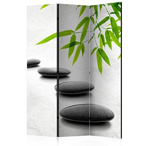 murando Raumteiler Spa Zen Foto Paravent 135x172 cm einseitig auf Vlies-Leinwand Bedruckt Trennwand Spanische Wand Sichtschutz Raumtrenner Home Office schwarz grün grau b-B-0156-z-b