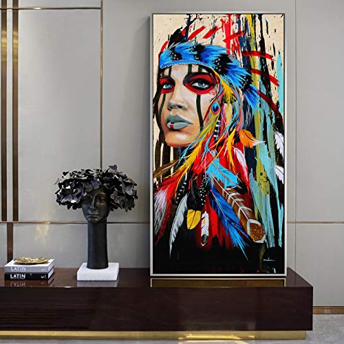 Pop Art Indian Girl Canvas Art Pinturas de pared Imágenes Mujer India con carteles de plumas e impresiones para la decoración de la pared de la sala de estar-60x120cm Sin marco