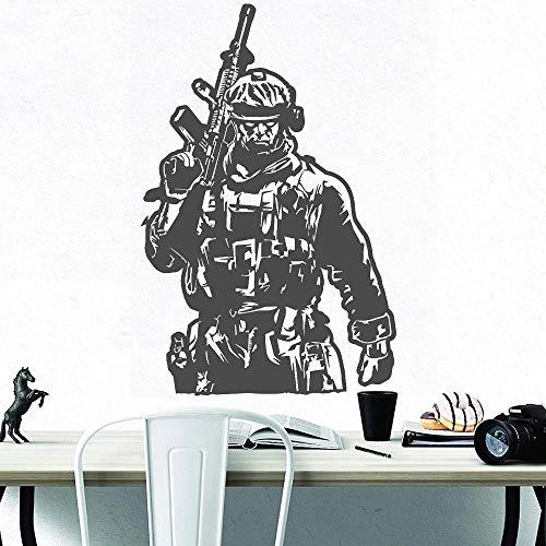 HGFDHG Soldado Militar Militar Etiqueta de la Pared habitación de niño Vinilo decoración del hogar Pistola Soldado Empresa Oficina Art Deco