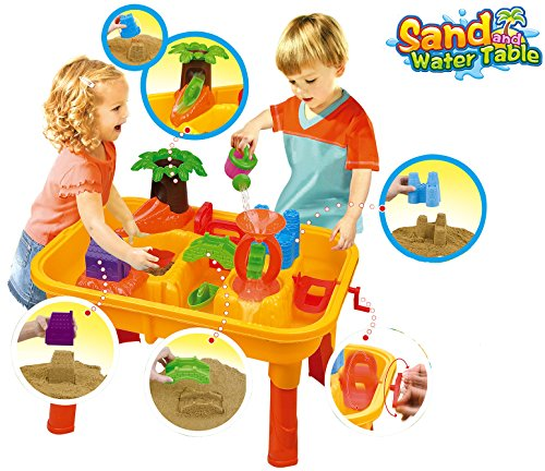 25 Piece Sand and Water Table Garden Sandpit Play Set Beach Toy Moulds Watering Can Water Mill